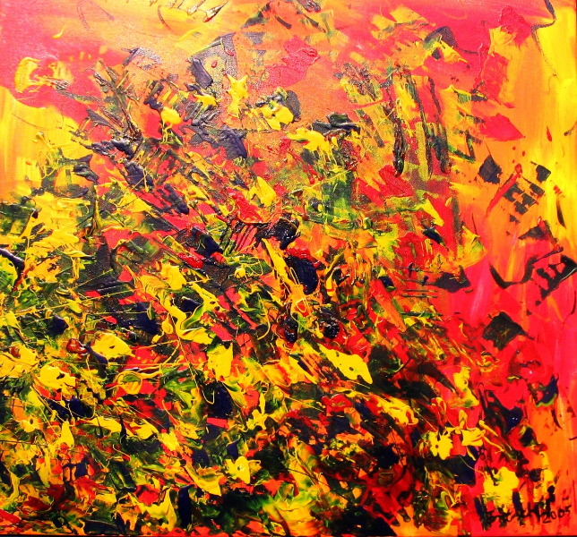 Orange Explosion, 80 x 80 cm