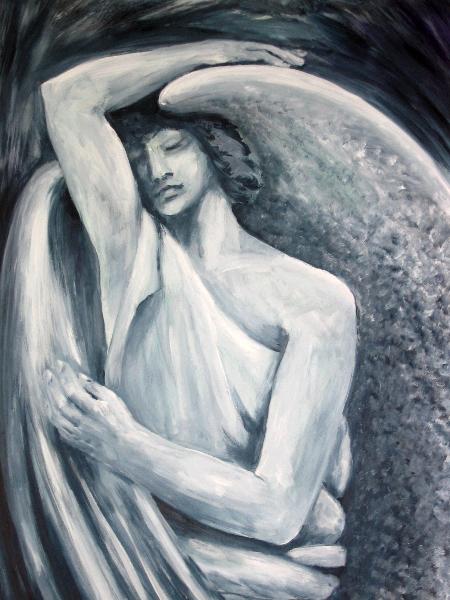 Besinnlicher Engel, 50 x 70 cm