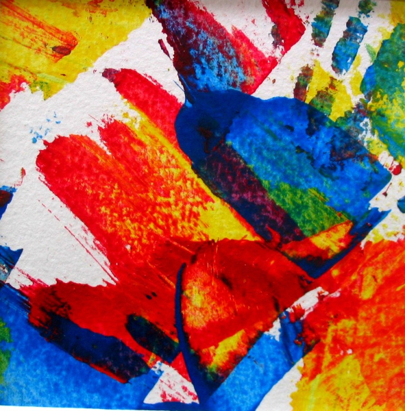 Variation Dreifarbig I, 10 x 10 cm Papier