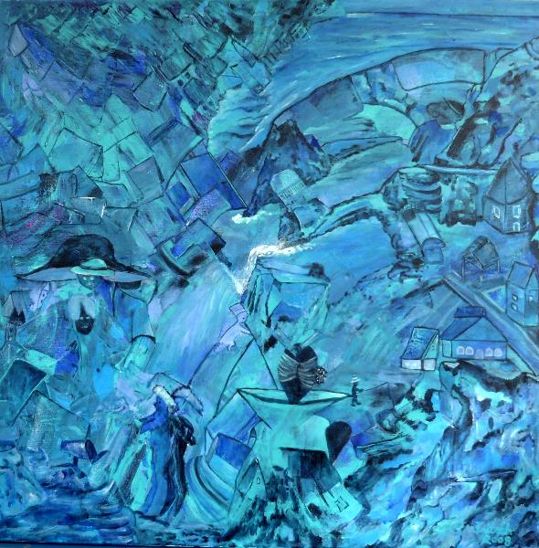 Stadt in Blau, 100 x 100 cm