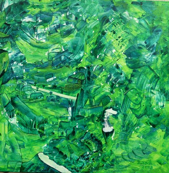 Stadt in Grün, 100 x 100 cm