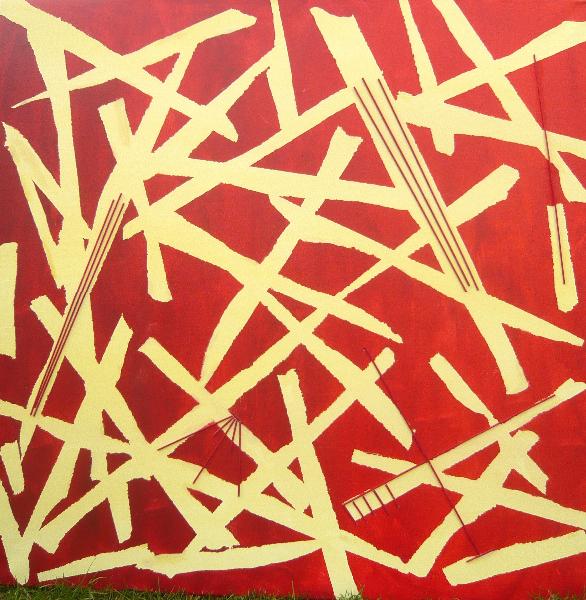 Rotholzimpressionen, 80 x 80 cm