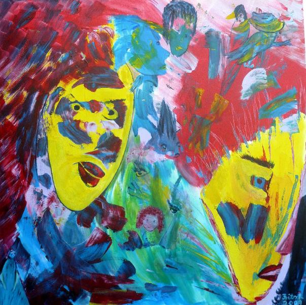 Rote Gesichter, 80 x 80 cm