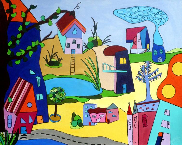 Stadtlandschaften, 80 x 100 cm