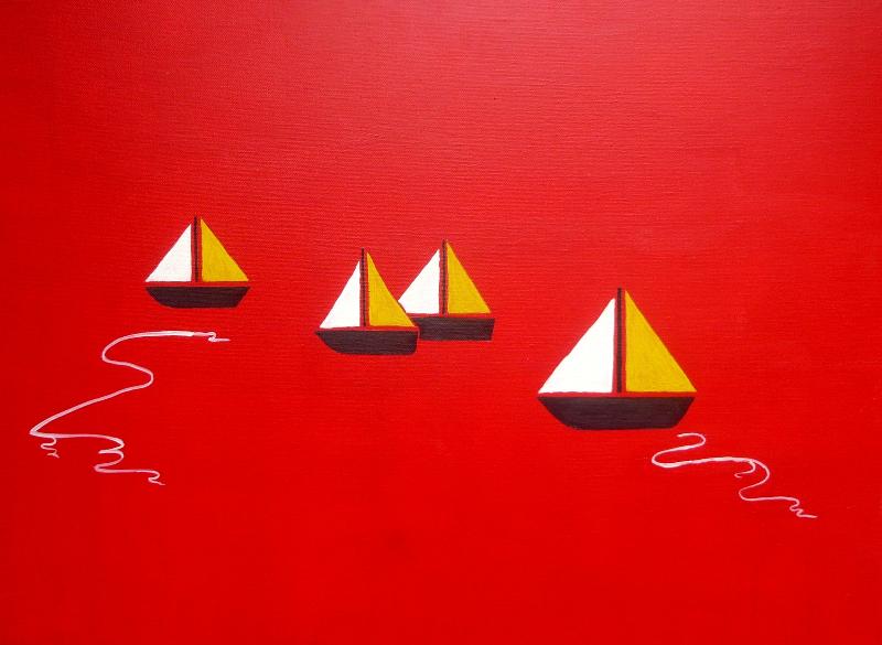 Boote am roten Horizont, 50 x 70 cm