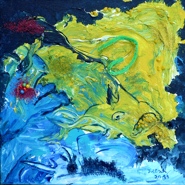 Collage bunt IV, 40 x 40 cm