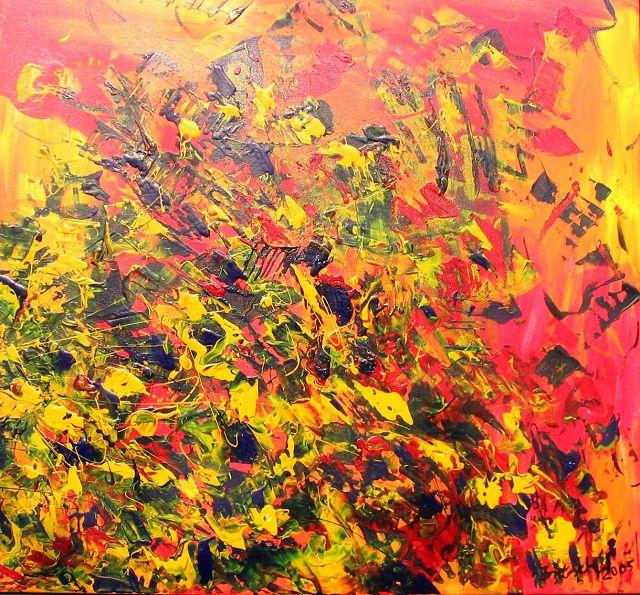 orange Explosion, 80x80 cm