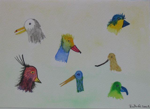 Vogelköpfe, 30x40 cm