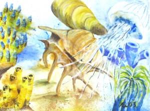 Vielfalt des Meeres II, Acrylbild des Meeres auf Papier, 30 x 40 cm