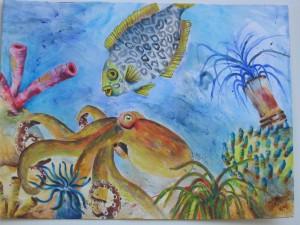 Vielfalt des Meeres, Acrylbild auf Papier, 30 x 40 cm