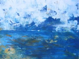 Ozean und Himmel, Acryl auf Papier, 48 x 66 cm