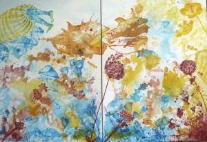 Vita Mare, 2 Acrylbilder auf Leinwand, die die Lebenswelt unter Wasser zeigen, 2 x 100 x 140 cm