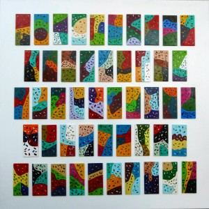 """31""""x31"""" 80 x 80 cm mit aufgeklebten farbigen Holzplatten"""