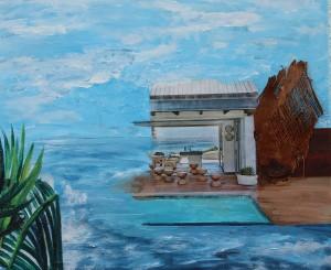 Mittelmeerwelt, Acrylcollage auf Leinwand, 50 x 60 cm