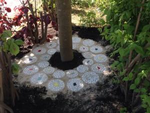 selbstgegossene Mosaikplatte