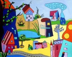 Stadtlandschaft 80 x 100 cm