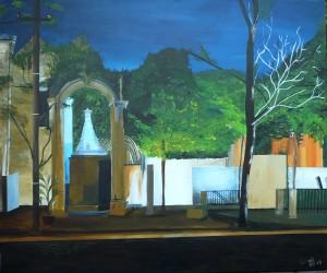 Lissabon Platz, Acrylbild auf Leinwand, 100 x 120 cm