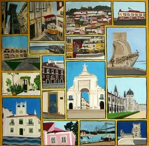 Lissabon, Acrylbild auf Leinwand, 80 x 80 cm
