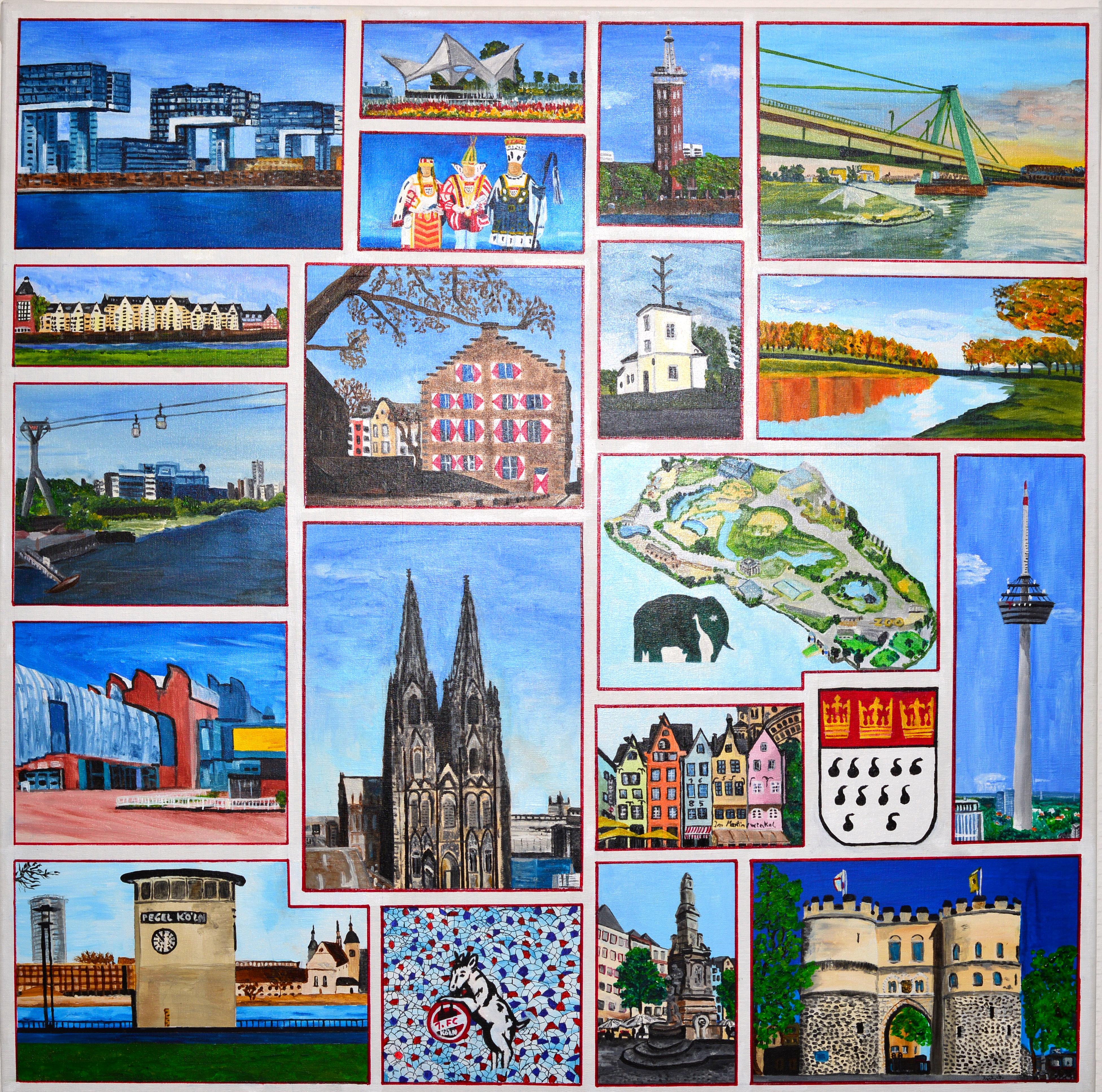 Inspirierende Kölnansichten, Acrylbild auf Leinwand, 100 x 100 cm Sehenswürdigkeiten aus Köln